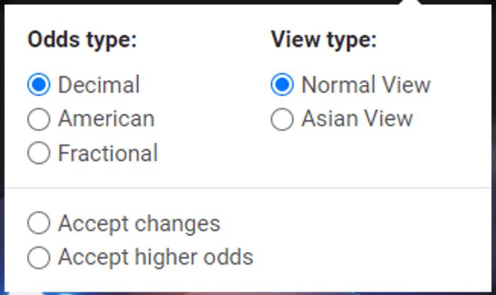 Cuotas americanas, decimales y fraccionarias, con vista normal y asiática